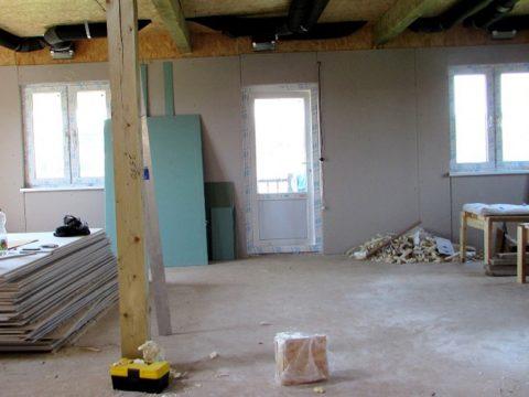 Строительство домов в Крыму - Гипсокартон в качестве отделочного материала для СИП панелей