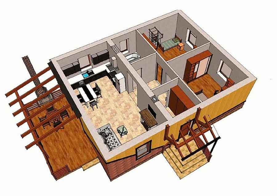 Строительство домов в Крыму - Планировка простого дома